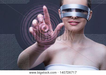 Techno girl pressing virtual buttons
