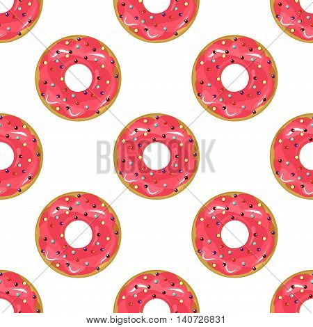 Cute donuts with colorful glazing seamless pattern. Seamless background of colorful donuts glazed. donut Vector sweet food texture cake dessert sugar cream pastry dessert bakery.
