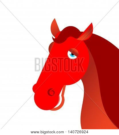 Red Fiery Horse On White Background. Animal Symbol Of Year On Chinese Calendar