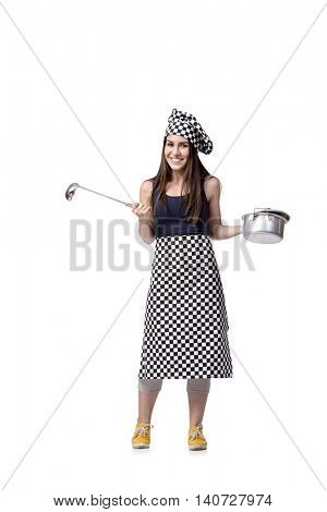 Young woman chef cook isolated on white