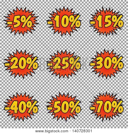 Set of nine discount labels. Pop art, comic books style. Vector, isolated, eps 10