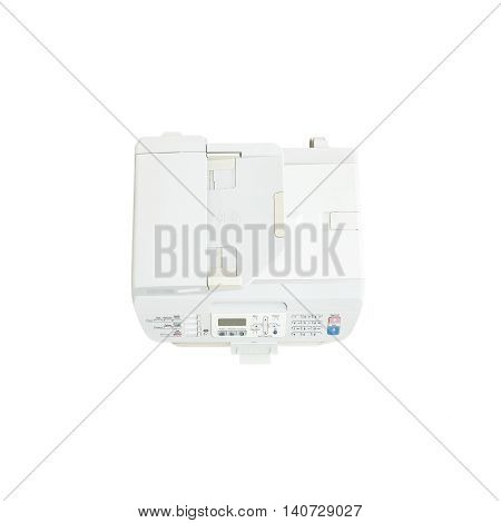 Closeup old white photocopier in the office office supplies concept isolated on white background in top view with clipping path