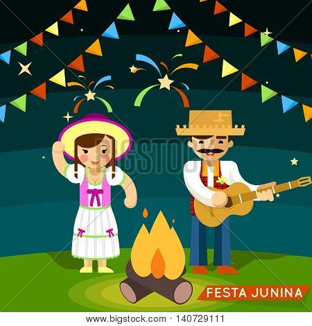 Festa Junina. St Johns june festival. Party brazil celebration. Vector illustration