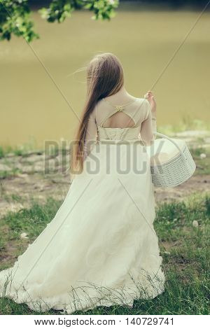 Small Girl In White Dress Outdoor