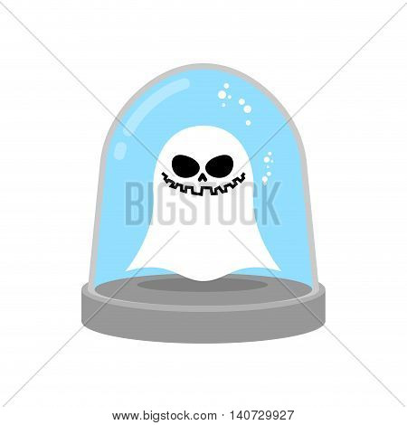 Ghost In Trap. Specter In Glass Bell. Laboratory Flask. Scientific Research Paranormal. Wineglass Tr