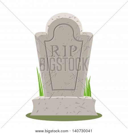 Grave Isolated. Old Gravestone With Cracks. Tomb On White Background. Ancient Rip. Granite Plate Wit