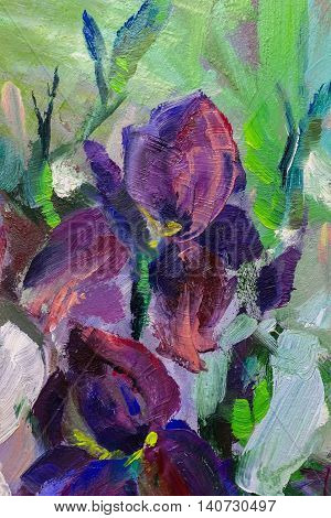 Painting Still Life Oil Painting Texture, Irises Impressionism Art