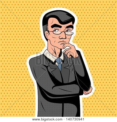 Pop Art Decision Making Thoughtful Genius Smart Adult Businessman Character Icon Stylish Background Retro Vintage Cartoon Poster Design Vector Illustration