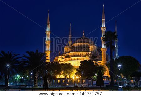 Blue mosque (Sultan Ahmed Mosque)in Istanbul in the night