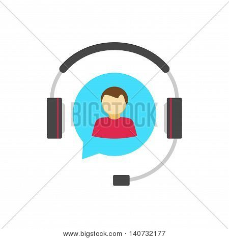Help desk logo concept, customer support service vector icon isolated, flat colorful hotline support assistance agent in bubble speech with headphone, operator person in headset