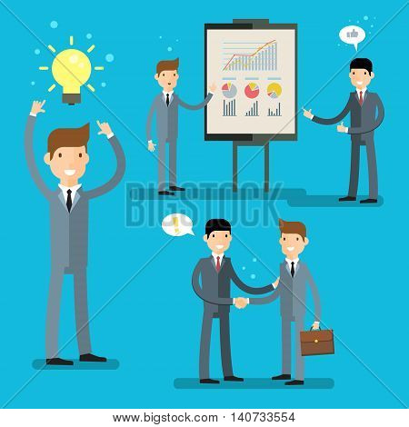 Business set, idea concept. Cartoon businessman making presentation explaining charts on a white board. Flat design, vector illustration.