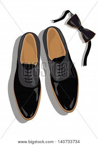 Black classic male shoes top view. Black elegant shoes and bow Vector