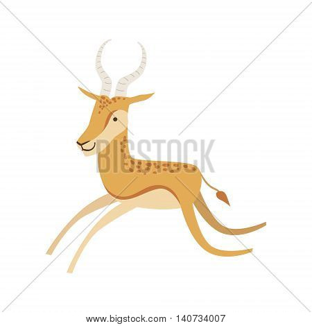 Gazelle Stylized Childish Drawing Isolated On White Background. Primitive Cartoon Style Illustration For Children In Flat Vector Design.