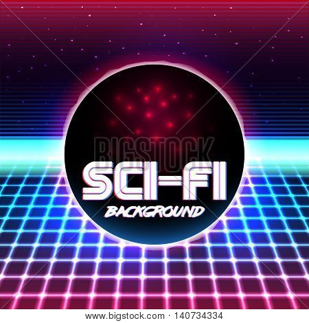 80s Retro Sci-Fi Background VHS. Vector EPS10