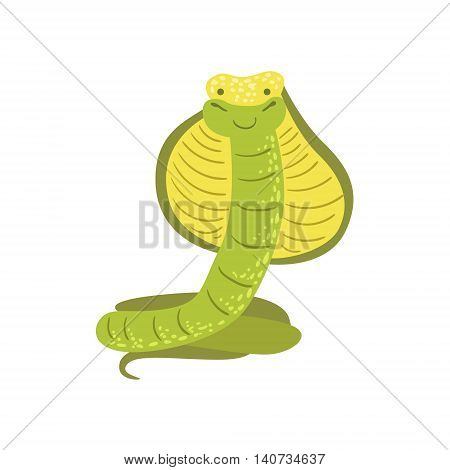 Cobra Stylized Childish Drawing Isolated On White Background. Primitive Cartoon Style Illustration For Children In Flat Vector Design.