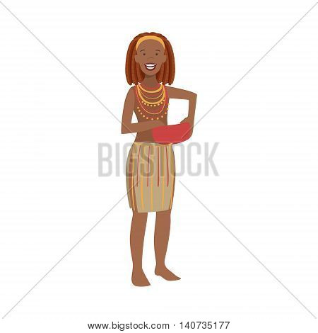 Woman With Red Hair From African Native Tribe Simplified Cartoon Style Flat Vector Illustration Isolated On White Background