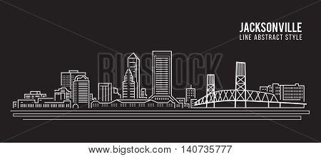 Cityscape Building Line art Vector Illustration design - jacksonville city