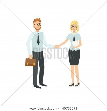 Managers Agreeing And Shaking Hands Teamwork Simple Cartoon Style Illustration. Office Employees Working Together Cute Flat Vector Drawing.