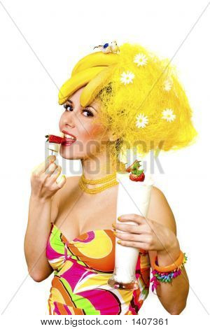 Banana Lady Eating Snack