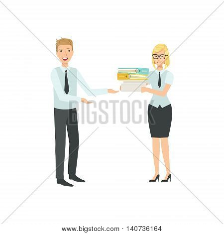 Managers Sharing The Files Teamwork Simple Cartoon Style Illustration. Office Employees Working Together Cute Flat Vector Drawing.