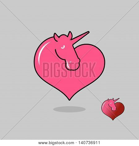 Unicorn Lgbt Symbol Community. Sign Of Love Magic Animals. Heart And Magical Beast