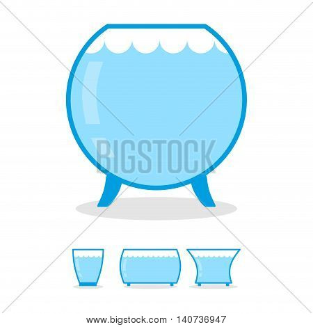 Aquarium Empty On White Background. Clear Glass Jar For Fish