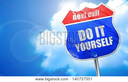 do it yourself, 3D rendering, blue street sign