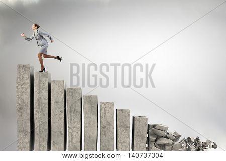 Making risky steps . Mixed media