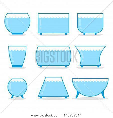 Aquarium Set. Transparent Glass Empty Aquarium Fish Different Form