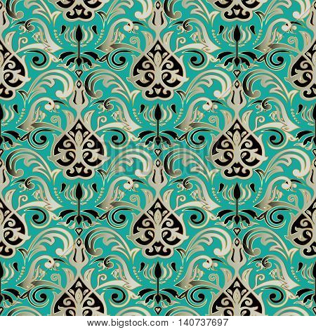 Light emerald damask vector seamless pattern with gold luxury  volumetric 3d  ornament. Vintage decorative elements  for design in Eastern style.Modern stylish ornate decor with shadows and highlights