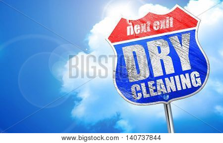 dry cleaning, 3D rendering, blue street sign