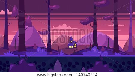 Seamless background for games apps or mobile development. Cartoon nature landscape. Night forest with house. Vector illustration for design graphics print or book . Stock illustration.