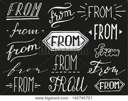 Hand lettered catchword - from. Collection of hand drawn catchwords. Modern handwritten calligraphy and lettering vector set. Catchwords for your design.
