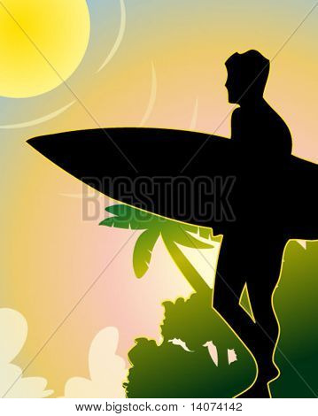 surfing poster - vector