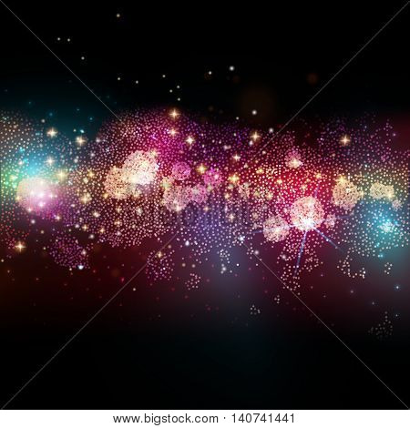 Far star field in deep space. Abstract vector illustration with many lights at black background. Glowing stars. Galaxy way. Fantasy decoration for holidays design.