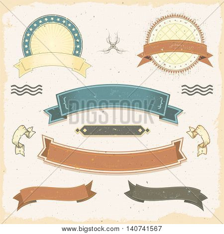 Illustration of a collection of design grunge vintage banners with washed-out labels signs ribbons and seal stamper
