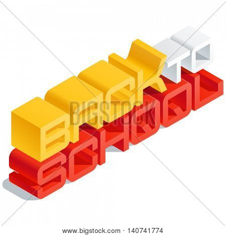 Vector card with 3D volume letters. Slim three dimensional isometric text Back to school