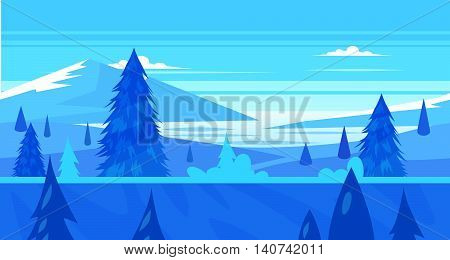 Seamless background for games apps or mobile development. Cartoon nature winter landscape with river. Vector illustration for design graphics print or book . Stock illustration.