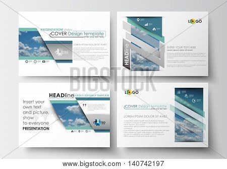 Set of business templates for presentation slides. Easy editable abstract blue layouts in flat design, vector illustration.