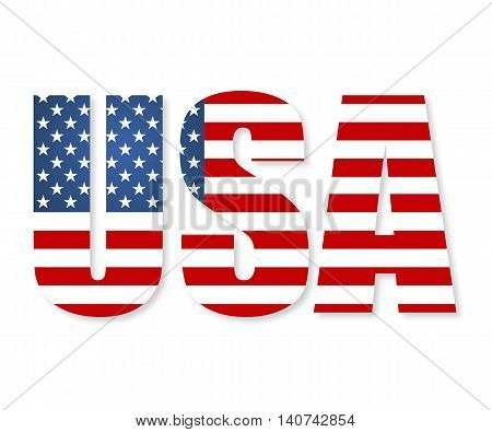 United States Of America Flag In The Form Of Letters