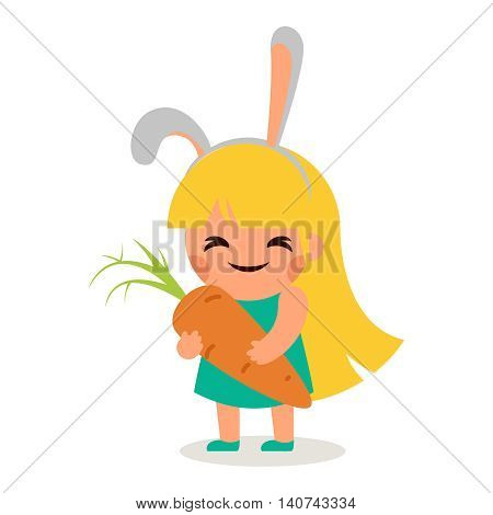 Little Happy Girl Hare Bunny Ears Big Tasty Carrot Symbol Smiling Child Concept Isolated Flat Design Vector Illustration