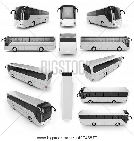 12 perspective view of City bus with blank surface for your creative design. 3D illustration.