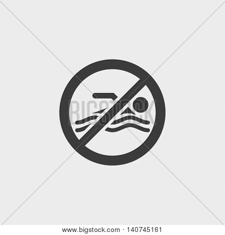 No swimming icon in a flat design in black color. Vector illustration eps10