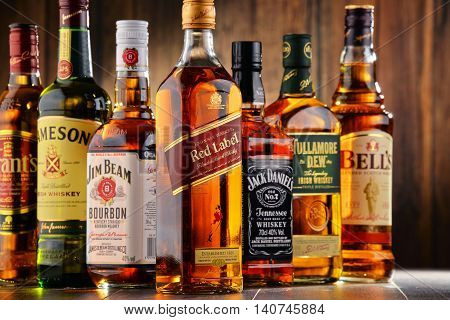 POZNAN POLAND - JULY 27 2016: Whiskey is the most popular liquor in the world. Originated probably in Ireland now it is produced on grand scale also in India Scotland USA Canada and Japan