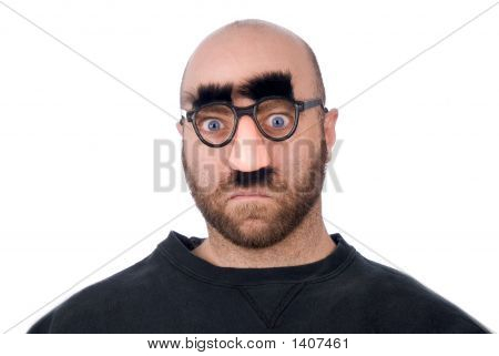 Man Wearing Fake Nose And Glasses