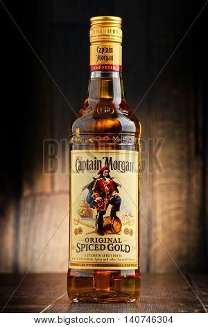 POZNAN POLAND - JULY 27 2016: Originated on US Virgin Islands Captain Morgan is a brand of rum produced by Diageo British multinational alcoholic beverages company headquartered in London
