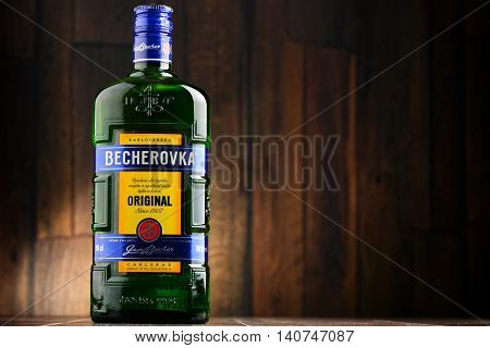 POZNAN POLAND - JULY 27 2016: Becherovka often used as a digestive aid is a an herbal bitters produced in Karlovy Vary Czech Rep. by the Jan Becher company. Owned by Pernod Ricard.
