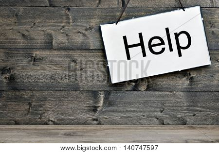 Help message on wooden table