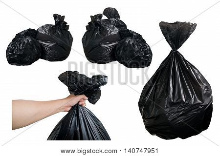 Black Garbage Bags and hold Black Garbage Bags isolate on white background