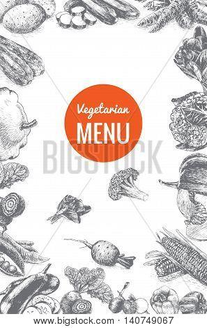 Vector illustration black and white frame with vegetables menu. Different vegetables on white background